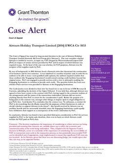 Case Alert - Airtours Holiday Transport Limited [2014] EWCA Civ 1033 by Alex Baulf via slideshare