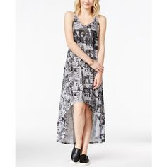 Juniors' Star Wars Comics Printed Graphic High-Low Dress from Hybrid ($25) ❤ liked on Polyvore featuring dresses, grey, hybrid dresses, comic dress, gray sheath dress, gray sleeveless dress and mullet dress