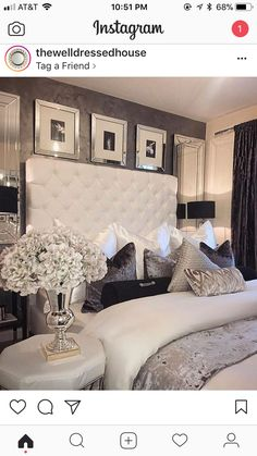 Love the wallpaper color and texture luxury bedroom design, master bedroom design, bedroom inspo Glam Bedroom, Cozy Bedroom, Home Decor Bedroom, Bedroom Ideas, Silver Bedroom Decor, Modern Bedroom, Contemporary Bedroom, Bedroom Furniture, Bedroom Headboards