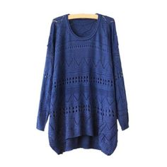 Rotita Long Sleeve Asymmetric Pierced Blue Sweaters ($18) ❤ liked on Polyvore featuring tops, sweaters, blue, collared sweater, long sleeve pullover, long sleeve tops, pullover sweater e sweater pullover