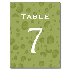 Olive Green Leopard Table Number Part of Set of 12 Postcard