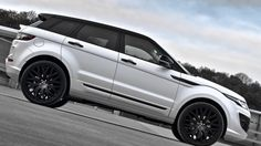 - Kahn Design 2013 Range Rover Evoque Fuji White The visual transformation begins with a two-tone body and a styling package with a custom front grille, new front and rear bumpers, LED daytime. Custom Range Rover, Range Rover 2018, Kahn Design, Range Rover Evoque, Geneva Motor Show, Future Car, Hot Cars, Fuji, Cars And Motorcycles
