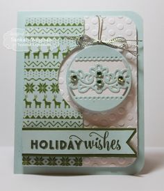 Holiday Wishes Card by Sankari Wegman #Cardmaking, #TEMatched, #Christmas, #EmbossingFolders, #TE, #ShareJoy