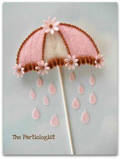 umbrella baby shower cookie