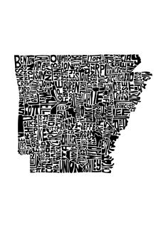 Arkansas Art Print - This piece features the state formed from each county's name written in the proper place and shape of that county. - Fine art print - Printed on Ultra Premium Lustre Paper - Shown
