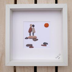 By your side - A picture about true love. A perfect personal gift for your love that he/she surely wont get from anyone else. Can be a nice birthday, Valentines Day or anniversary present. ✿ Handmade pebble pictures from South Devon, UK ✿ Comes with black or white frame approx. 25 x