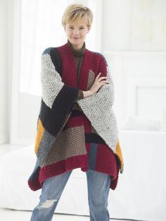 Image of Palermo Poncho free knitting pattern at Lion Brand Yarn