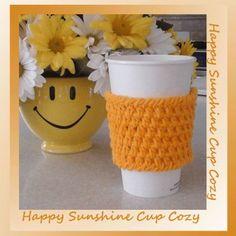 Happy Sunshine Cup Cozy, free crochet pattern on Crochet Memories Blog