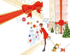 Christmas, Girls with dogs © Illustration by masaki ryo