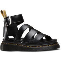 Dr. Martens Vegan Leather V Clarissa II Sandal Footwear ($125) ❤ liked on Polyvore featuring shoes, sandals, black, vegan sandals, black strap shoes, strappy sandals, black gladiator sandals and black strappy shoes