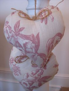 Shabby Chic Pair Padded HEART HANGERS ~ Laura Ashley Picardie Pink fabric