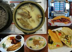 Clockwise: Sul lung tang at Keungama, French Dip at Johnnie's Pastrami, sandwich at Aroma Bakery Cafe, kal guk su at Myung Dong Kyoja in Koreatown, Bossa Nova Fish.