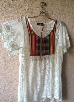 Made in Peru for FREE PEOPLE Autumn Dreams Gretty Zueger lace and tribal motif gypsy tunic / Bohemian Angel Hippie Style Clothing, Hippie Outfits, Gypsy Clothing, Steampunk Clothing, Vintage Clothing, Boho Gypsy, Gypsy Style, Female Pirate Costume, Pirate Costumes