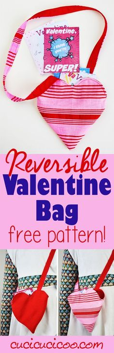 This reversible heart-shaped Valentine's Day bag is perfect for little girls to carry all their valentines and candy in! FREE sewing pattern and tutorial! Happy Valentine Day HAPPY VALENTINE DAY | IN.PINTEREST.COM WALLPAPER EDUCRATSWEB