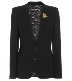 Dolce & Gabbana - Embellished virgin wool jacket - Dolce & Gabbana give the traditional tailored jacket a feminine update this season with a dose of eye-catching sparkle. A sparkling bee sits elegantly on the peaked lapel of the fitted design, while a virgin wool fabric with a hint of stretch keeps the look classically refined. Wear yours with a pencil skirt. seen @ www.mytheresa.com