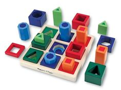Wooden Shape Sequence Sorting Set - Learn shapes, sequencing, matching, colors and more all while developing hand eye coordination and fine motor skills.  This is a great gift to help preschool age kids prepare for school. $14.95