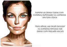 Aprenda a iluminar seu rosto Valorize pontos positivos no seu rosto e suavize os negativos.