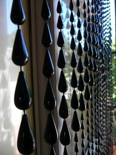 Black Raindrop Beaded Curtain