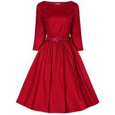"""Платье с рукавом 3/4 в стиле 50-х """"Холли"""", Красное"""