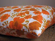 Pillow Cushion Vintage Barkcloth Bright Orange Retro Flowers. $60.00, via Etsy.