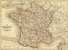 Les 86 départements français après la chute de Napoléon Ier.