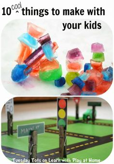 10 cool things to make with kids! From Tuesday Tots on Learn with Play at Home. Crafts For Kids To Make, Craft Activities For Kids, Toddler Activities, Projects For Kids, Kids Diy, Preschool Ideas, Art Projects, Play Based Learning, Fun Learning