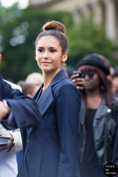 Navy blue - Nina Dobrev, actress and model, after Chanel couture show.