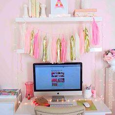 #office #pink #tasselgarland #studiomucci #officeinspo #girlyoffice #girlydesk #homeoffice #whitedesk #homedecor #pretty #girly #bright #mac #target #ikea #house #home