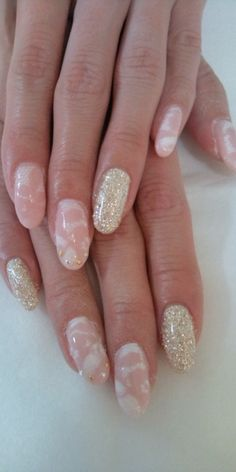nails. pink and gold. square shape not oval.