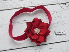 Baby Headband  Red Poinsetta Headband  by JoMazingAccessories, $8.49