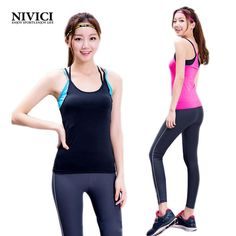 2016 top one yoga set women two-piece set sportswear fitness breathable gym outdoor sportswear running clothes vest long pants