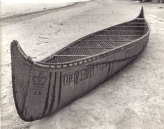 25' fur-trade birch bark canoe '' THE QUEBEC '' built for the regatta in honor of the Prince of Wales in 1860 ; it features the tribal Algonquin bow profile rather than the usual fur-trade end ; photo Rick Nash, 1972