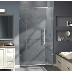 "Dreamline Vitreo 76"" x 46"" Pivot Frameless Shower Door & Reviews 