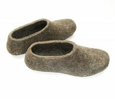 Felted Eco Friendly Wool Slippers. Undyed Brown Grey. Women