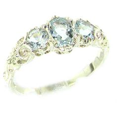 925 Sterling Silver Natural Aquamarine Womens Trilogy Ring  Sizes 4 to 12 Available * Find out more at the image link.