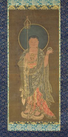 A compassionate bodhisattva who rescues sentient beings from being thrown into hell or purgatory, Kshitigarbha (Jijang in Korean) became enormously popular during the Goryeo period. A key figure in Pure Land Buddhism, Kshitigarbha was often depicted singly and in the guise of a monk—with a shaved head, wearing a monk's robe, and holding his standard attributes, a staff and a wish-fulfilling jewel (cintamani)