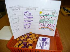 Love this idea for practicing words-Write it, Build it (stamps, letter tiles, legos), Decorate it (write word and draw a picture around it or a design)