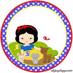"""Kit Personalizado Tema """"Branca de Neve Cute"""" - CALLY'S DESIGN-Kits Personalizados Gratuitos"""