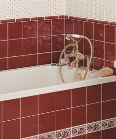 Relatively MH Louise Maroon Border Tile Maroon Bathroom, Modern Bathroom Tile, Bathroom Tile Designs, Bathroom Floor Tiles, Wall And Floor Tiles, Bathroom Ideas, Cloakroom Ideas, Maroon Walls, Topps Tiles