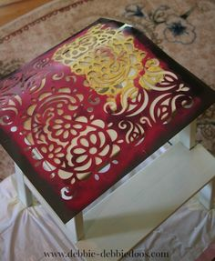 Stenciling a step stool