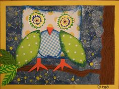 Painted background (crayon resist) with a collaged paper owl overlay.  Nice for the itty bitty artist.