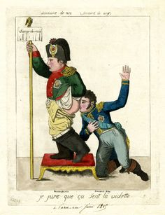 A Napoleonic era political cartoon depicting Marshal Ney kissing Napoleon Bonaparte's bum, circa 1815.