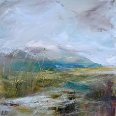 ARTFINDER: Winter Hills by Lesley Birch - A popular print from an original painting - memories of Ben Lomond in Scotland - winter frosts and snow on the hills - a limited palette with sweeping brush ...
