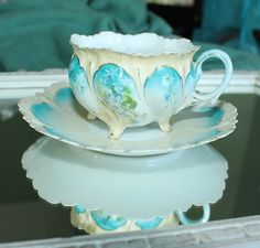 RS Prussia Blue Flowers Scalloped Rim Footed Cup Saucer