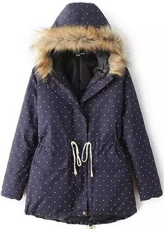 Shop Navy Hooded Long Sleeve Drawstring Polka Dot Coat online. Sheinside  offers Navy Hooded Long 0d68955b52