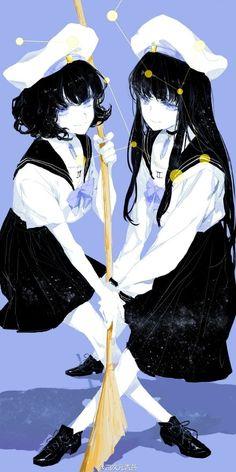 Artist reimagines the Zodiac signs as anime-style schoolgirls in gorgeous illustration series 5 Anime, Anime Chibi, Kawaii Anime, Manga Girl, Anime Art Girl, Anime Girls, Zodiac Art, Zodiac Signs, 12 Zodiac