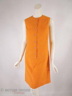 60s Scooter Dress - Purple on Orange Polka Dot Shift - med by Better Dresses Vintage