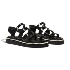 Sandals - Black - Patent Calfskin - Alternative view - see full sized version Low Heel Shoes, Low Heels, Shoes Heels, Chanel Sandals, Chanel Shoes, You'll Never Walk Alone, Gucci, Designer Sandals, Online Bags