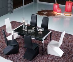 Black and White Dramatic Dining Space Affordable Furniture Stores, Contemporary Furniture, Furniture Design, Dining Table, Black And White, Collections, Space, Home Decor, Furniture