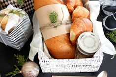 Pretty gift idea! Delicious breads delivered in a DIY paper wrapped crate. #handmadegifts #neighborgifts